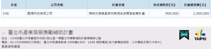 台北市政府新創補助九十萬證明照片