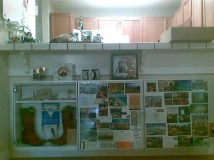 客廳可以看到一整面旅遊明信片佈置的矮櫃,收藏我們去美國各地旅行的回憶紀念品。